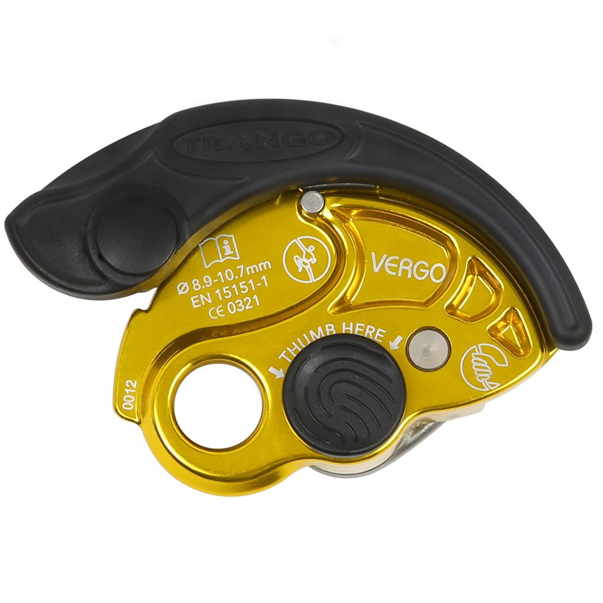 Trango Vergo climbing belay device, in Gold colour