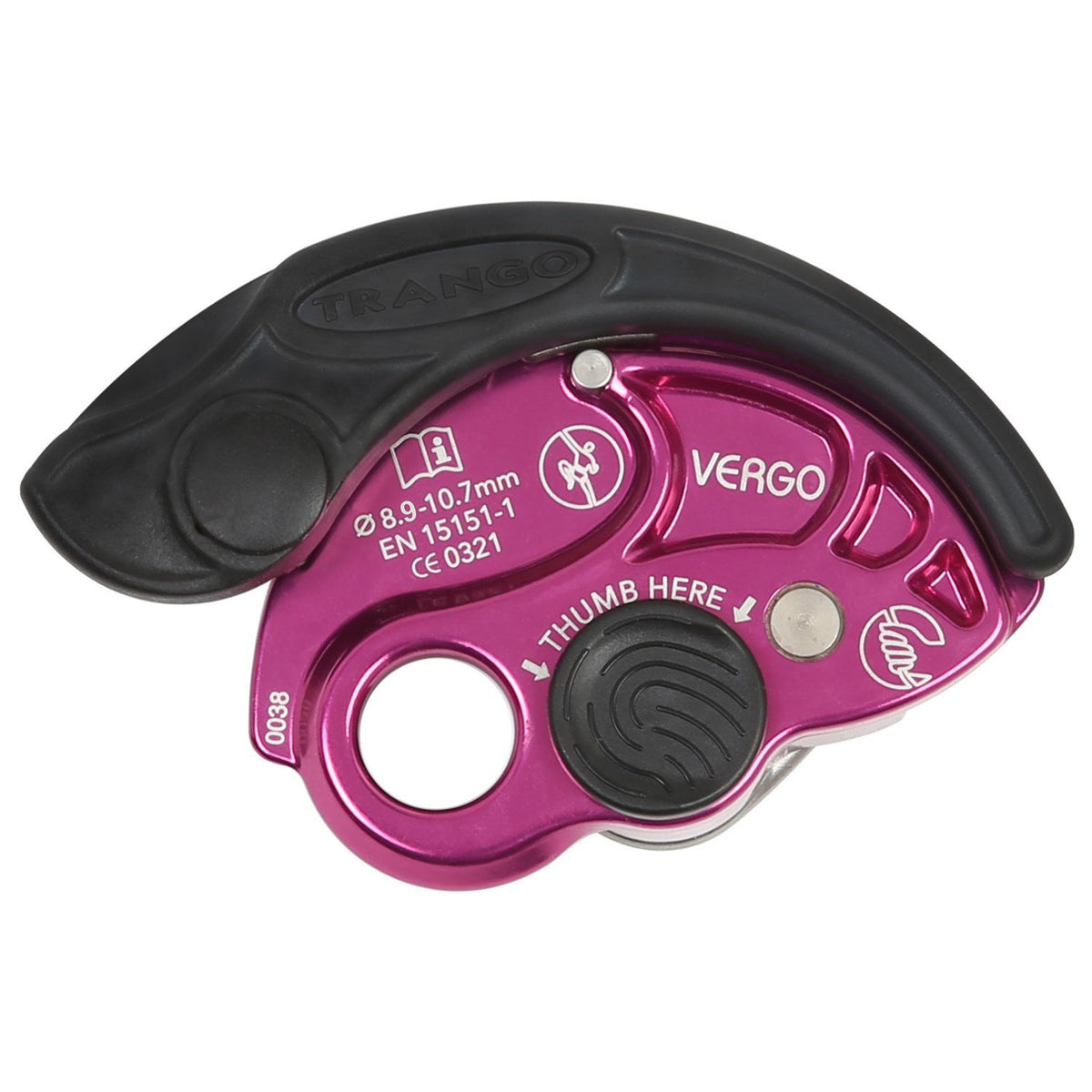 Trango Vergo climbing belay device, in purple colour