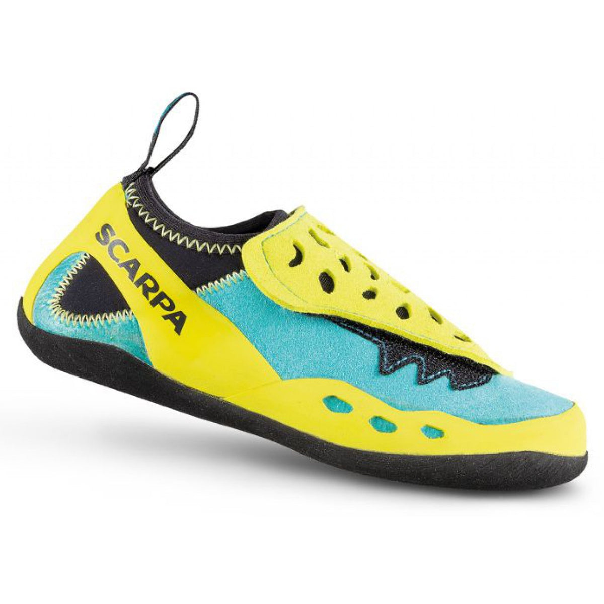 Scarpa Piki Kids climbing shoe, outer side view in yellow, green and black colour