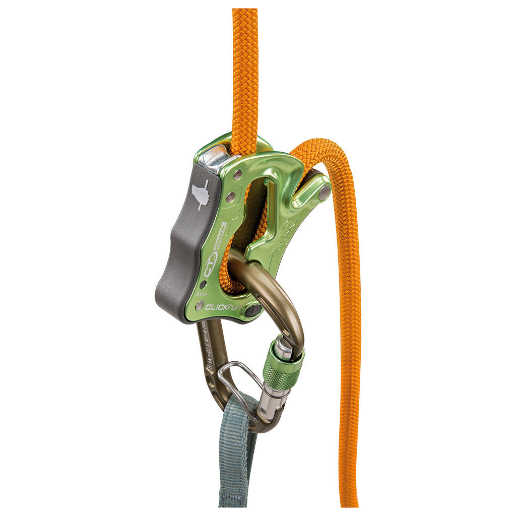 Climbing Technology Click Up belay device in Green colour, shown in use with carabiner and rope