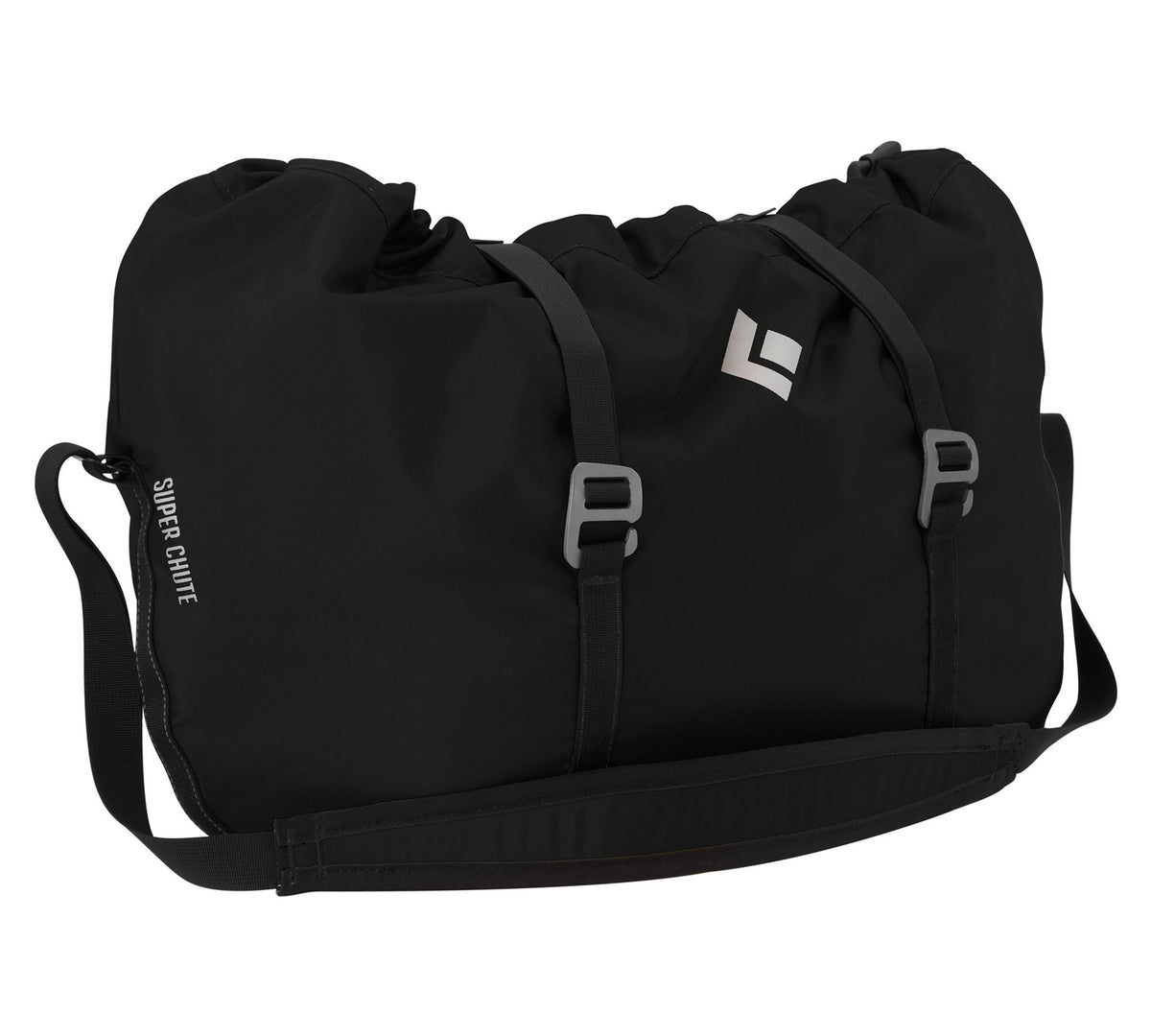 Black Diamond Super Chute climbing rope bag, shown closed in black colour