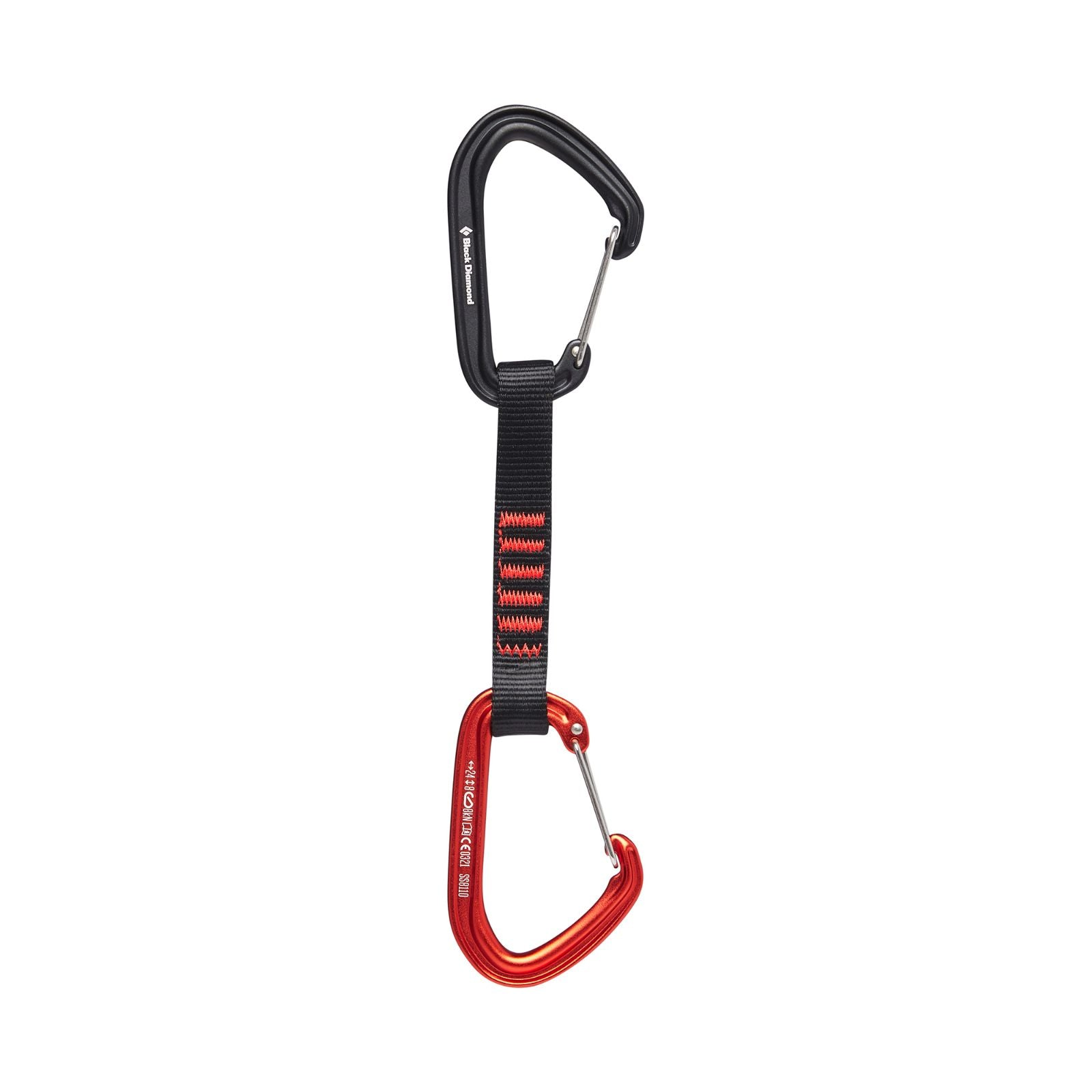 Black Diamond's lightweight and highly adaptable quickdraw features the updated HotWire wiregate carabiners.