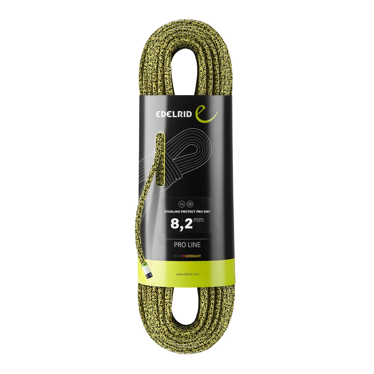 Edelrid Starling Protect Pro Dry 8.2mm x 60m, Colour Yellow-Night
