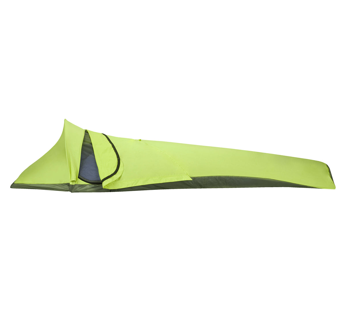 Black Diamond Spotlight Bivy, side view in green colour, showing entrance