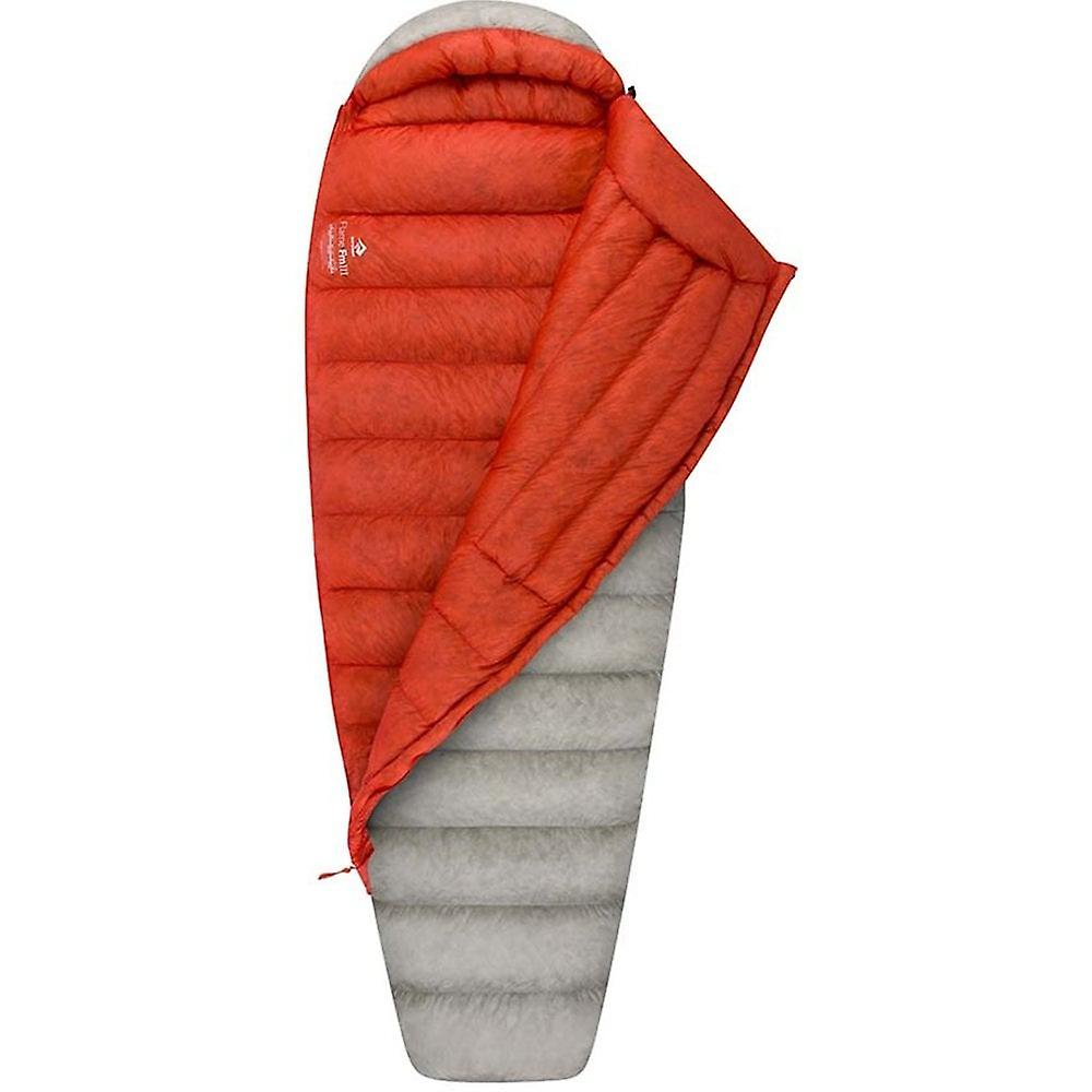 Sea to Summit Flame III Women's sleeping bag shown 3/4 open with red lining