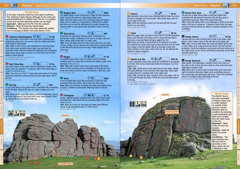 West Country Climbs guide, inside pages showing photo topos and route descriptions