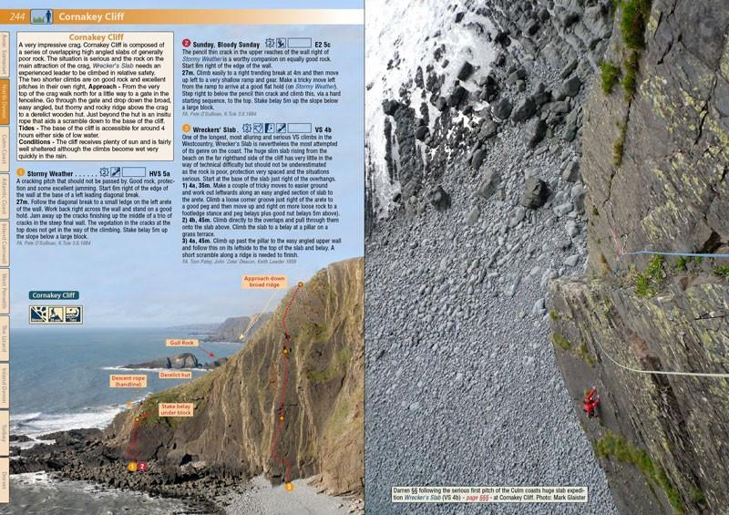 West Country Climbs guide, inside pages showing photos and text