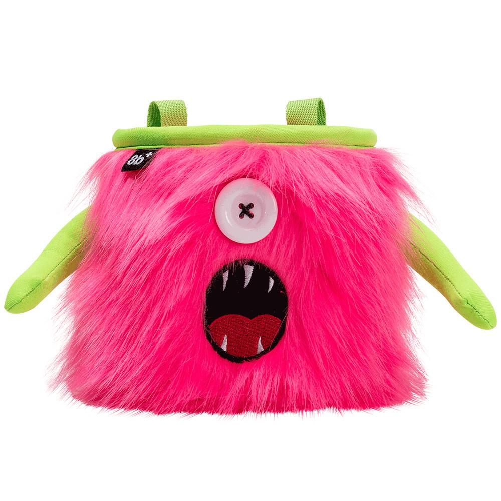 8BPlus Kelly Monster Chalk Bag, front view with monster face in pink and green