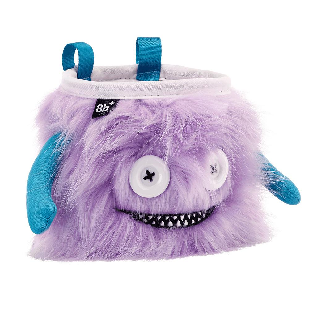 8BPlus Lilly Chalk Bag is a Purple monster chalk bag with blue arms and white button eyes side angle