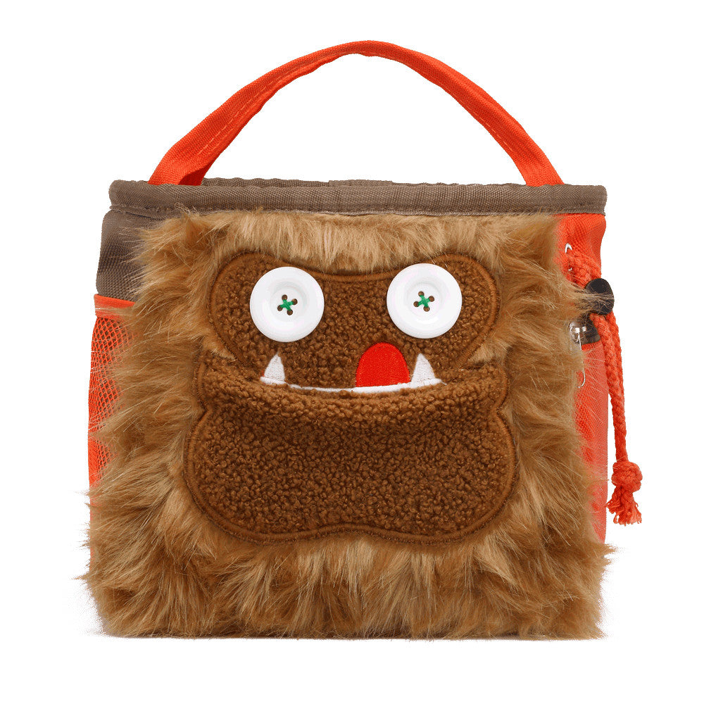 8BPlus Louie Boulder Bucket Monster Chalk Bag in Beige and Orange with Cartoon face at front