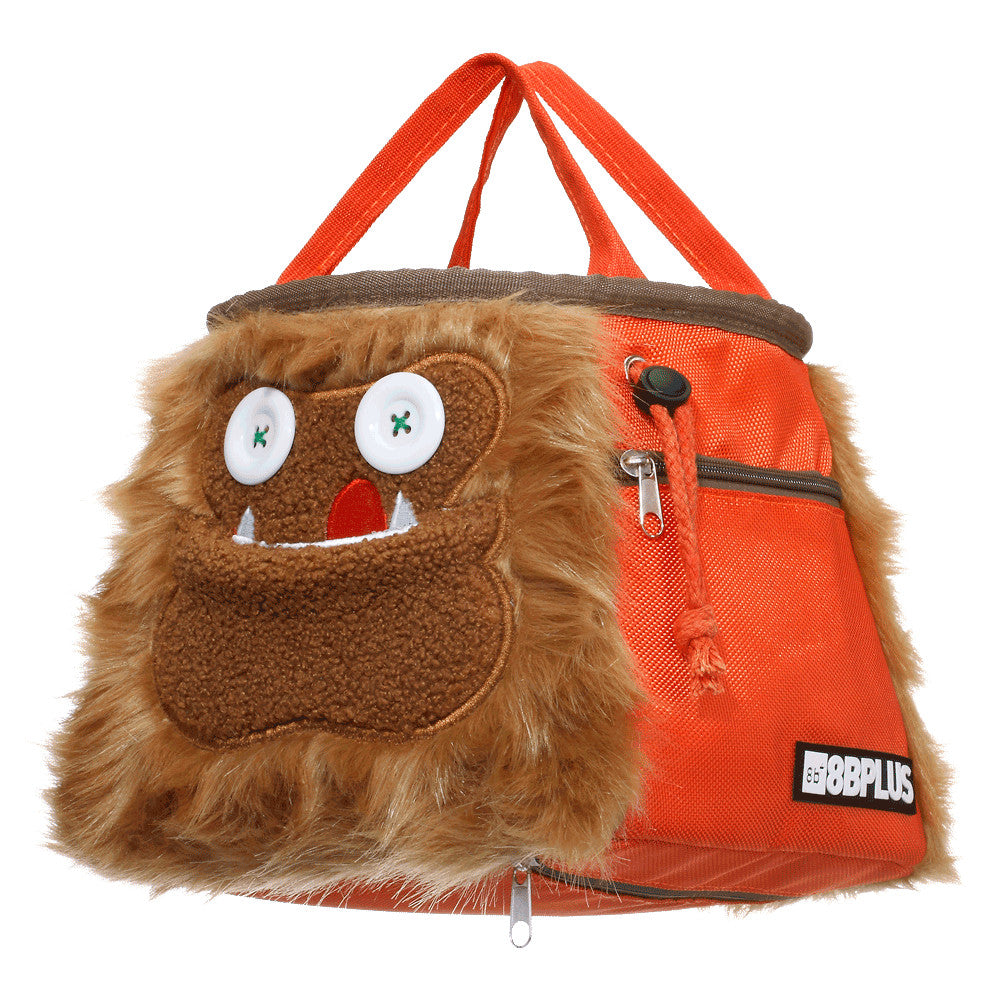side view of 8BPlus Louie Boulder Bucket Monster Chalk Bag showing carry handles
