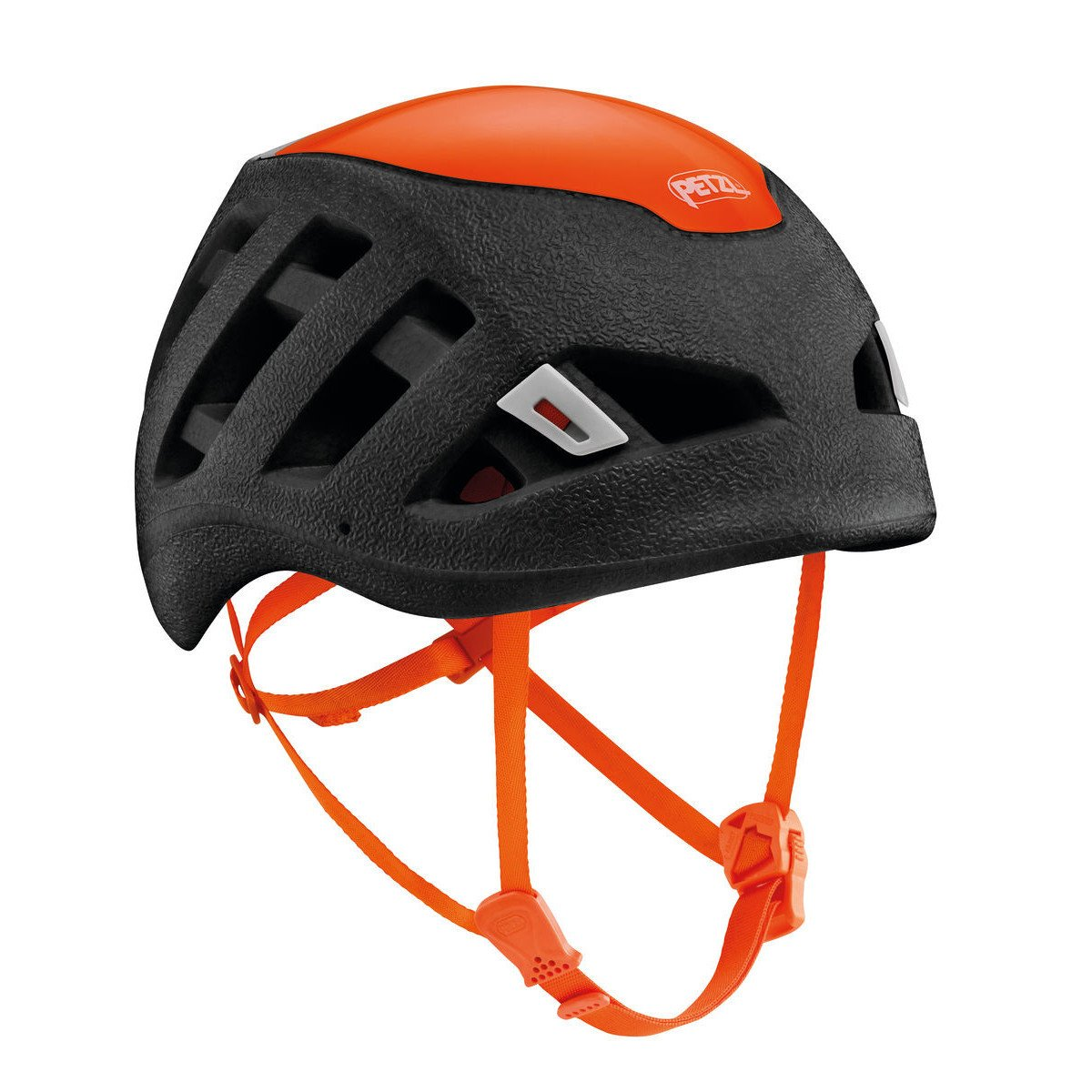 petzl sirocco climbing helmet, in black and orange colours