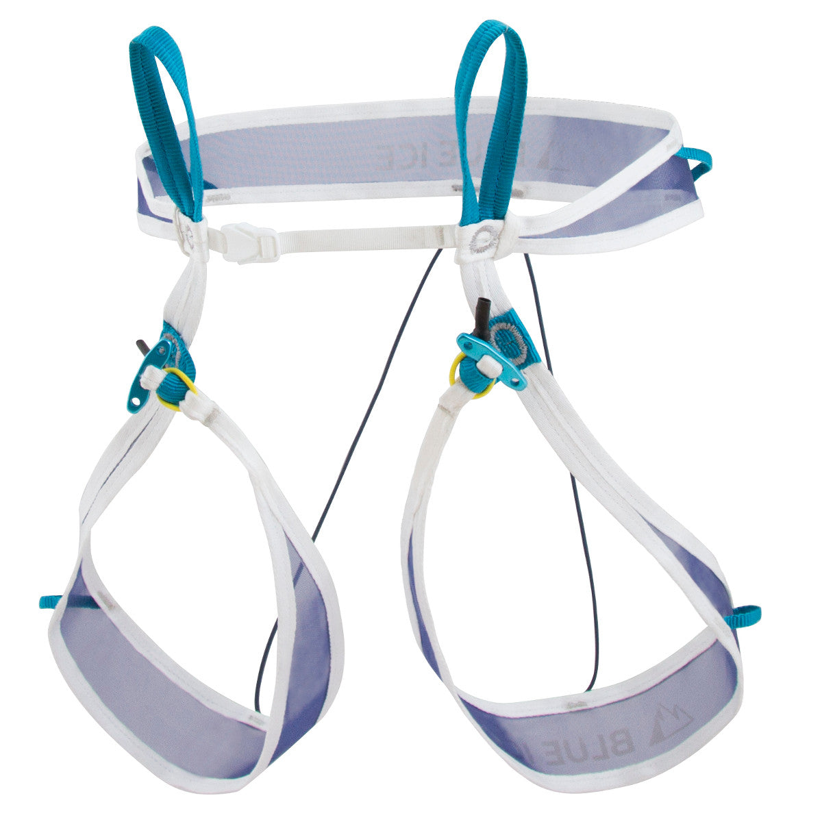 Blue Ice Choucas Light Harness, front/side view shown in white and blue colours