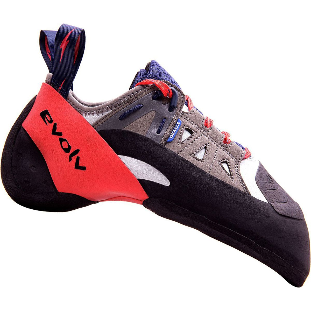Evolv Oracle climbing shoe, in black and red colours