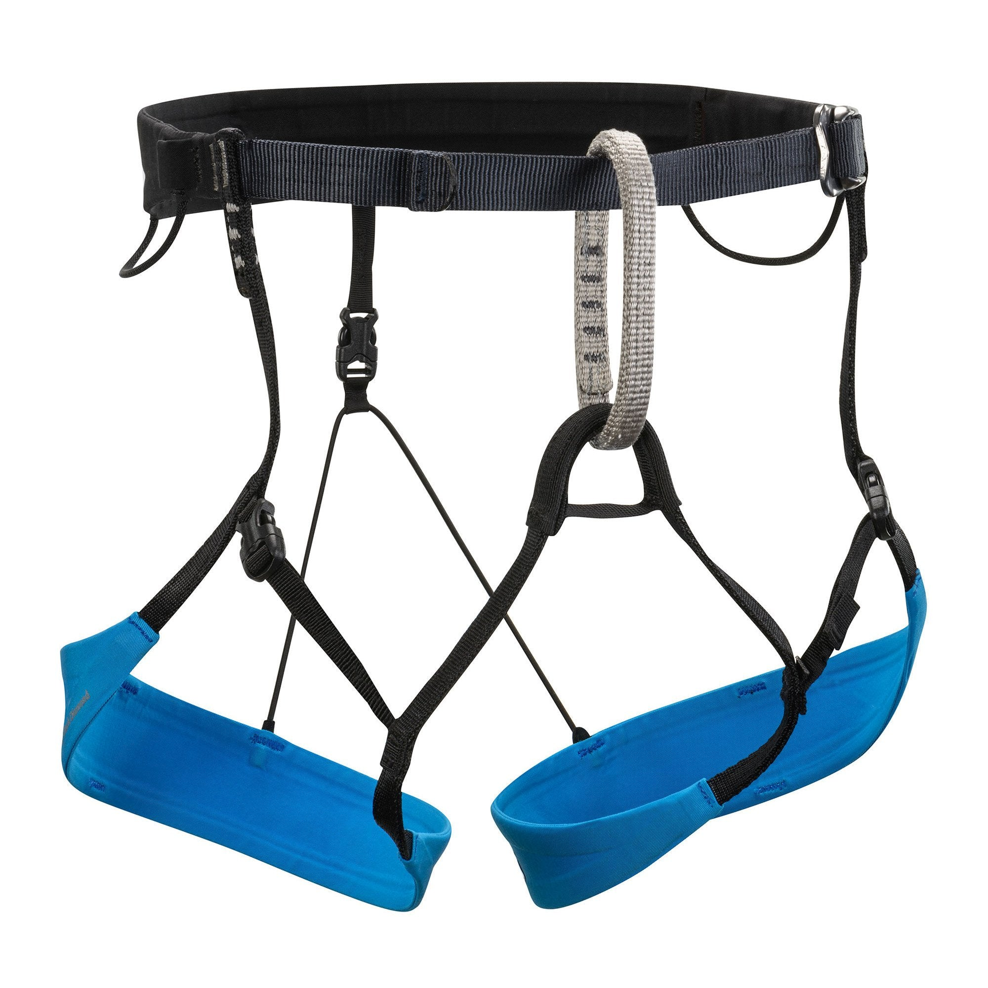 Black Diamond Couloir Harness, front view in black and blue colours
