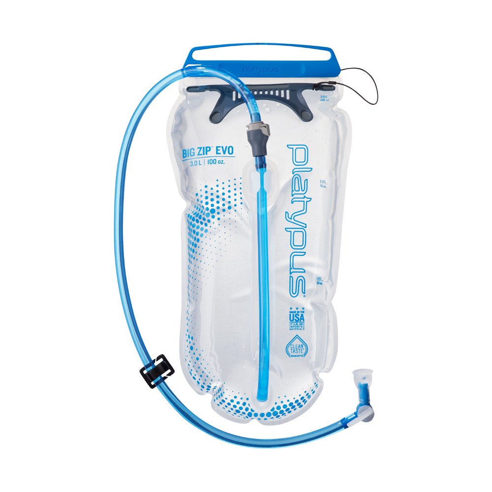 Platypus Big Zip EVO 3L water bladder, front view showing clear bottle with blue logo