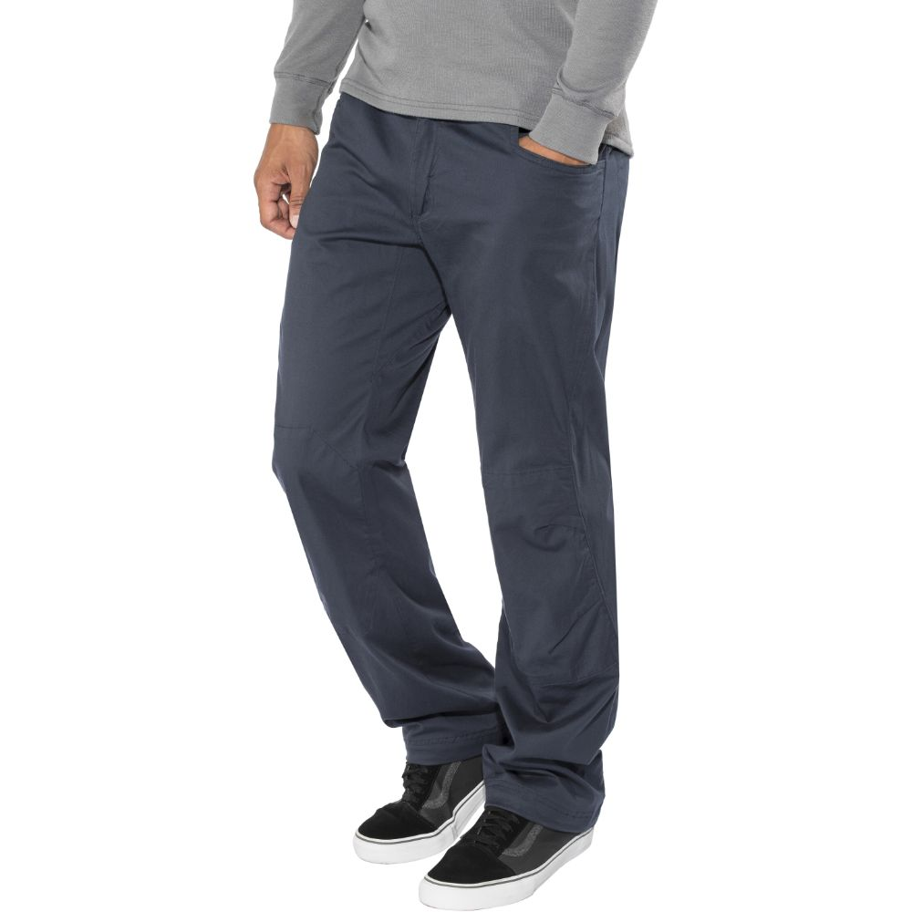 climber wearing Black Diamond Credo Pants in captian dark blue