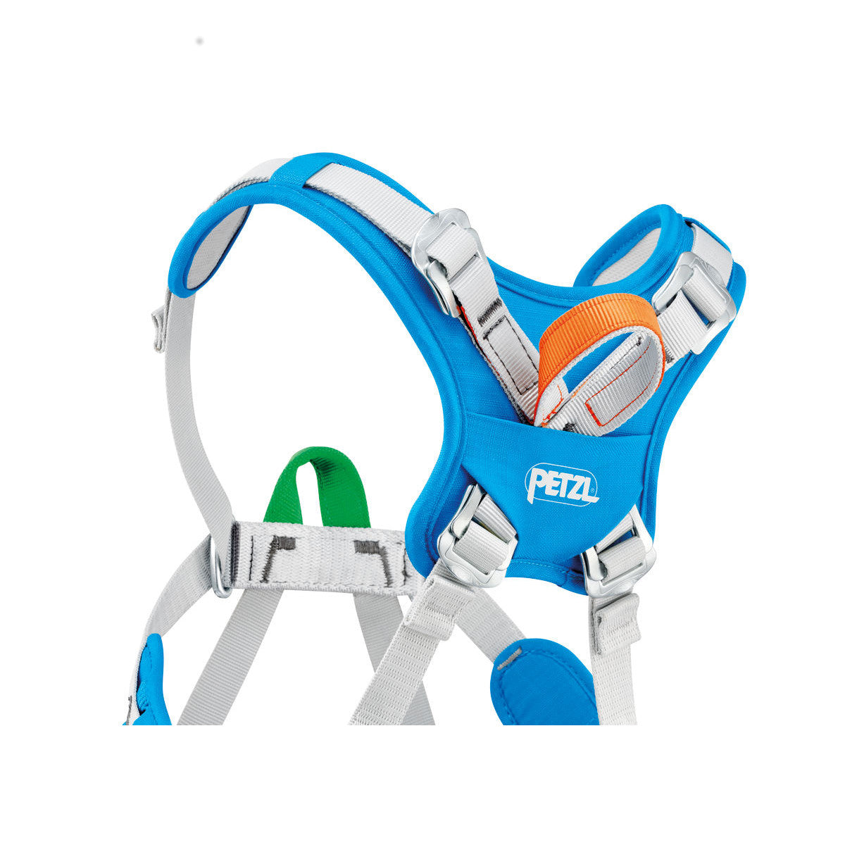 Petzl Ouistiti Kids Harness, close up of the back shoulder strap and rear loop design