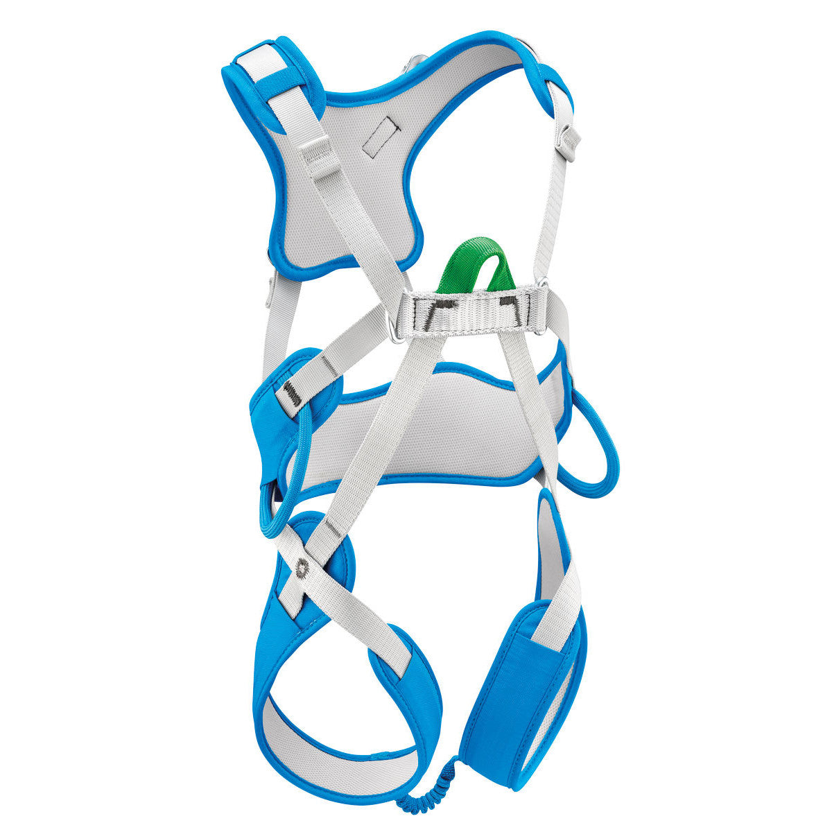 Petzl Ouistiti Kids climbing Harness, front/side view, in Blue and Grey colours