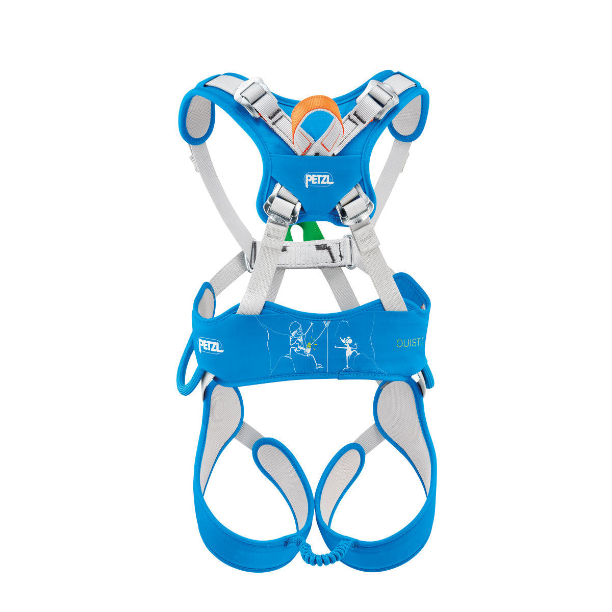 Petzl Ouistiti Kids Harness, rear view, in Blue and Grey colours