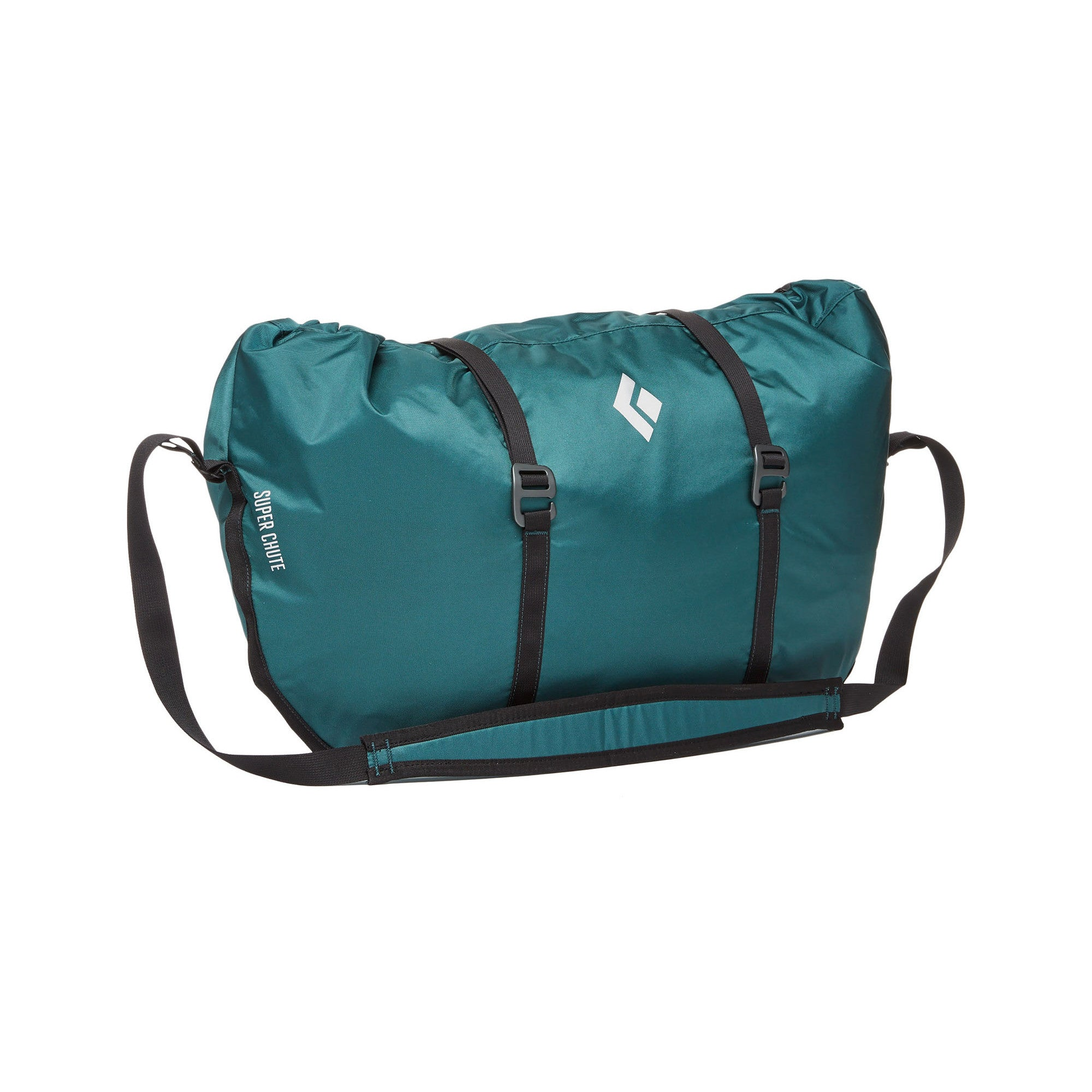 Black Diamond Super Chute climbing rope bag, shown closed in Adriatic colour