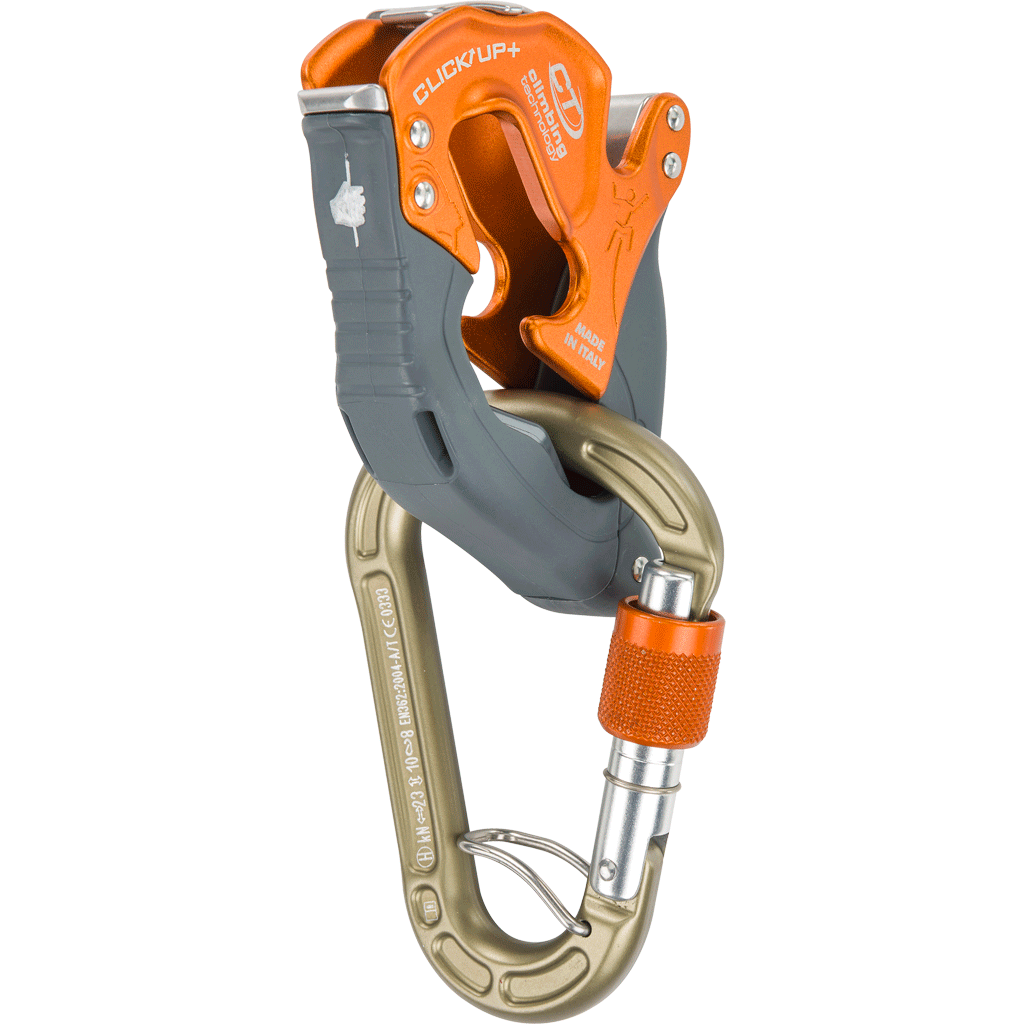 Climbing Technology Click Up Plus Belay Device in orange colour with carabiner attached