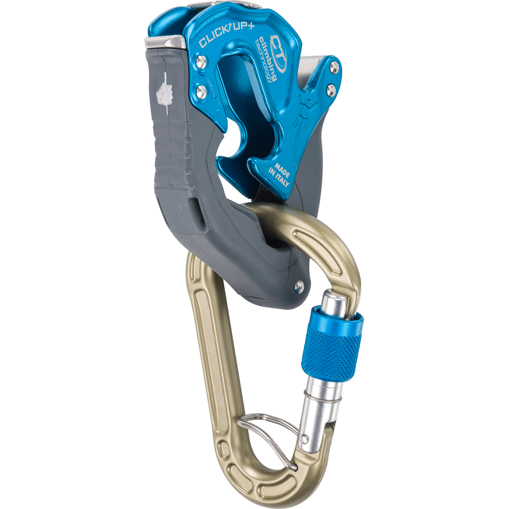 Climbing Technology Click Up Plus belay device, shown in blue colour with carabiner attached