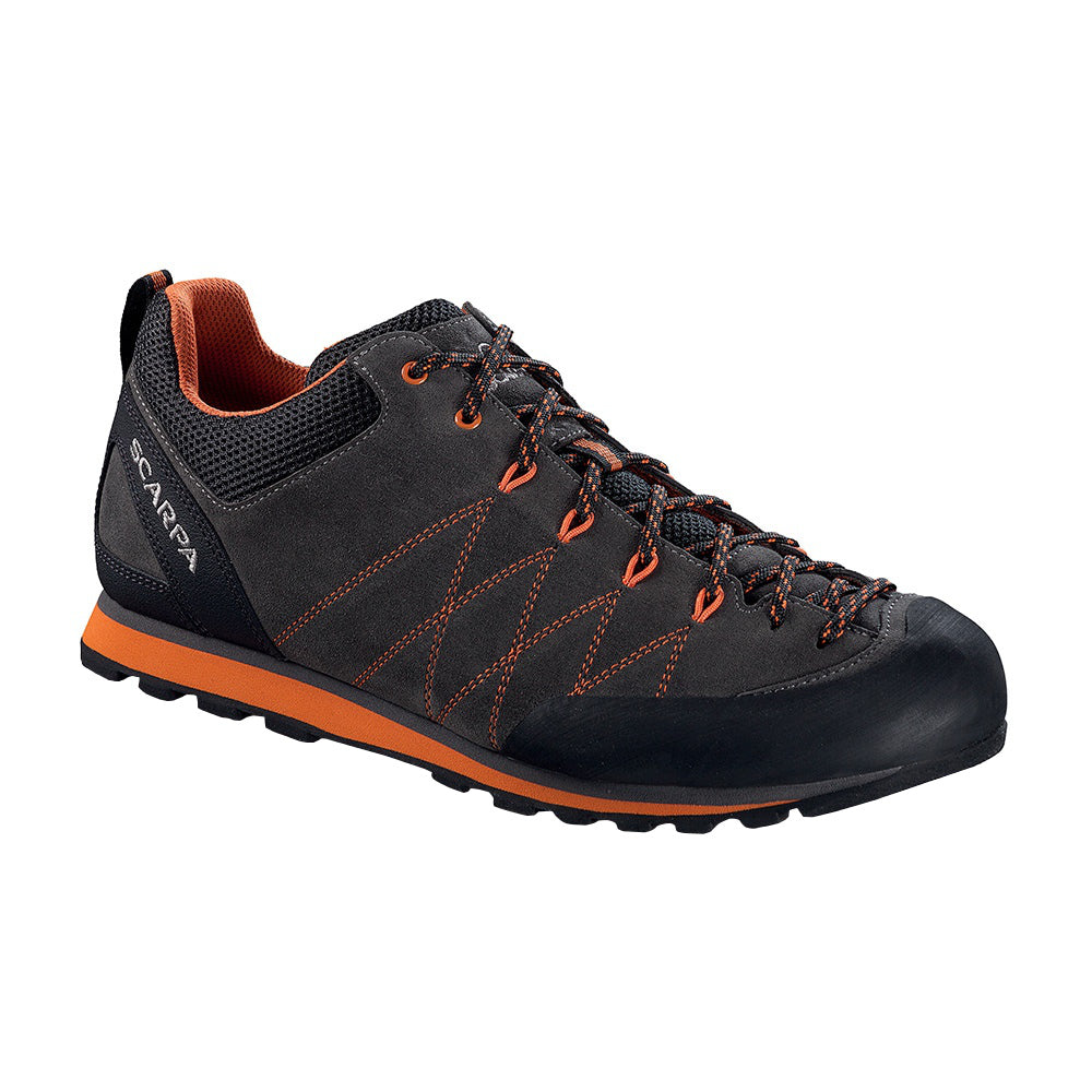 Scarpa Crux approach shoe, in black/orange colours, outer side view