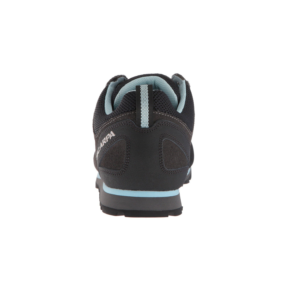 Scarpa Crux Womens approach shoe view from behind, showing the heel design detail