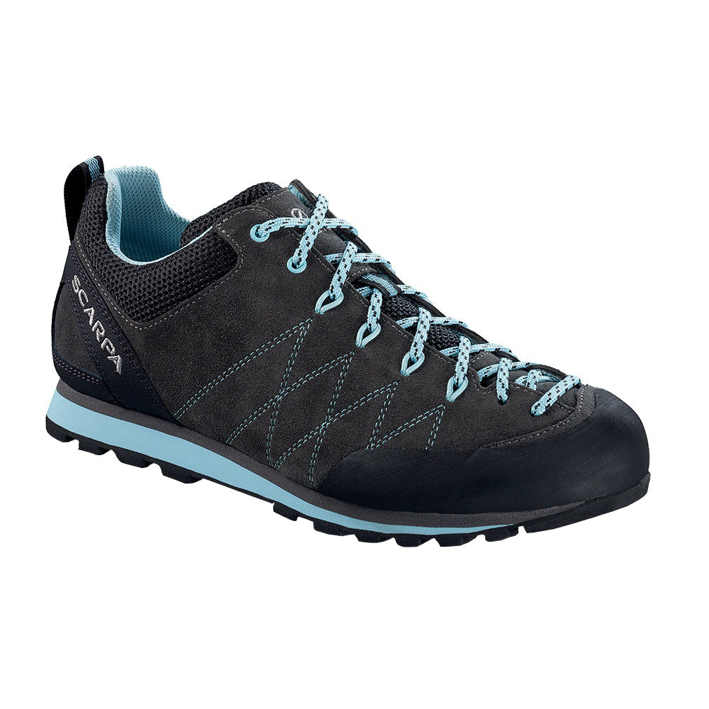 Scarpa Crux Womens approach shoe in black/blue colours, outer side view