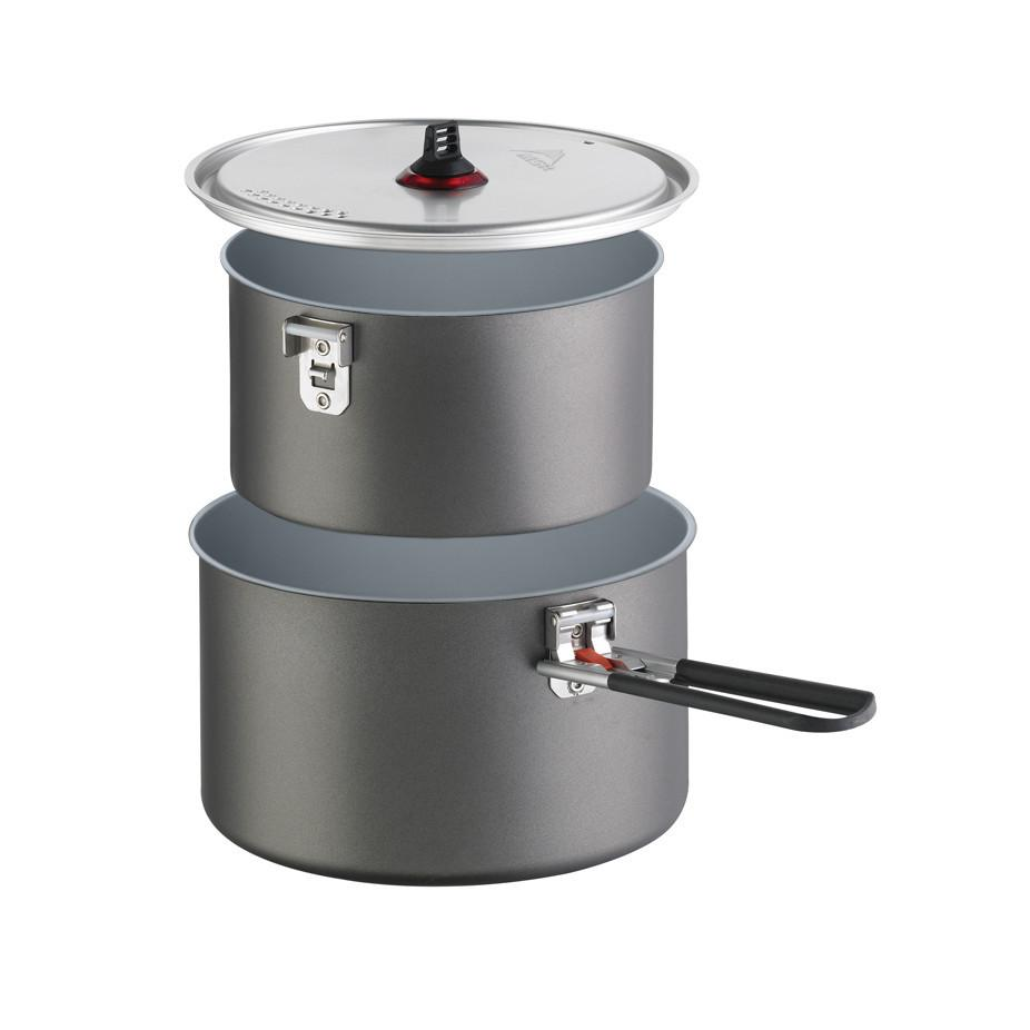 MSR Ceramic 2-Pot Set for camping, shown stacked on top of one another, in grey colour
