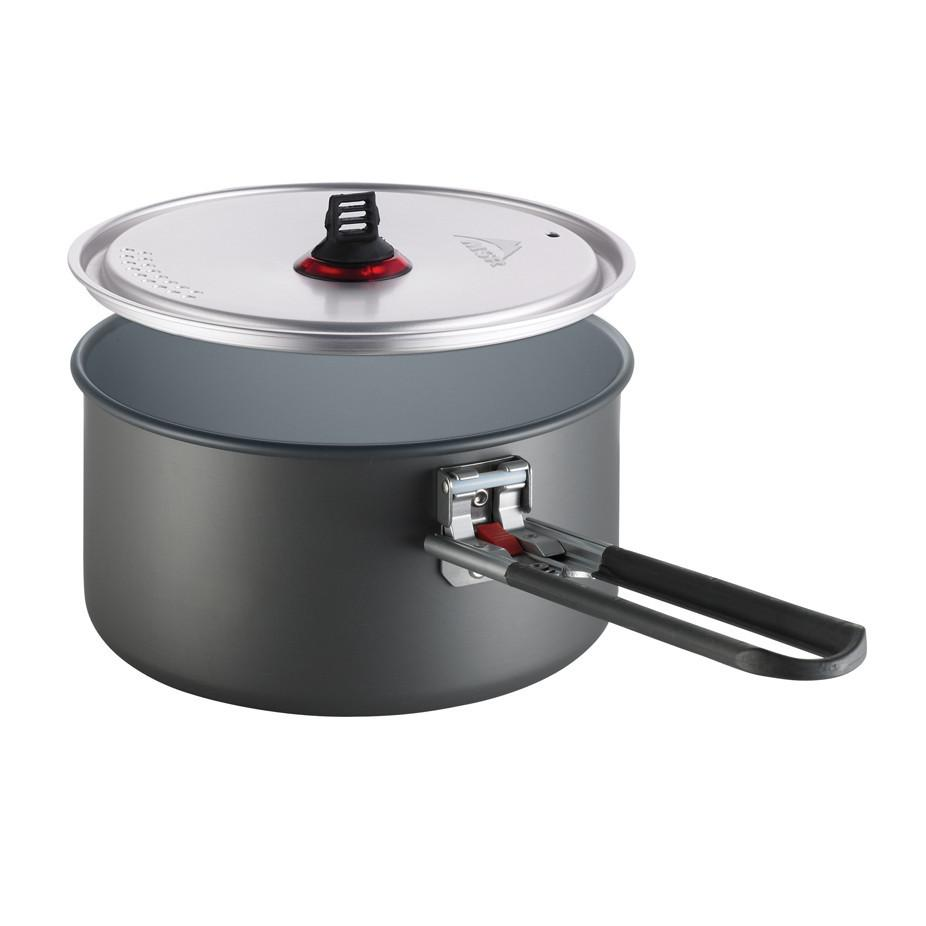 MSR Ceramic Solo Pot for camping, in grey colour with clear lid