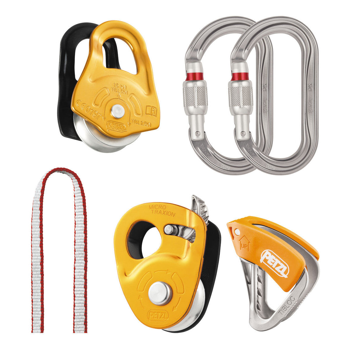 Petzl Crevasse Rescue Kit showing the Partner pulley in Light Orange, the 2 OK Oval Screwgates in silver, the new Tibloc with orange lever , 120cm Dyneema Sling in red, and Micro Traxion in light orange