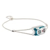 Petzl Bindi headlamp in turquoise colour with grey strap