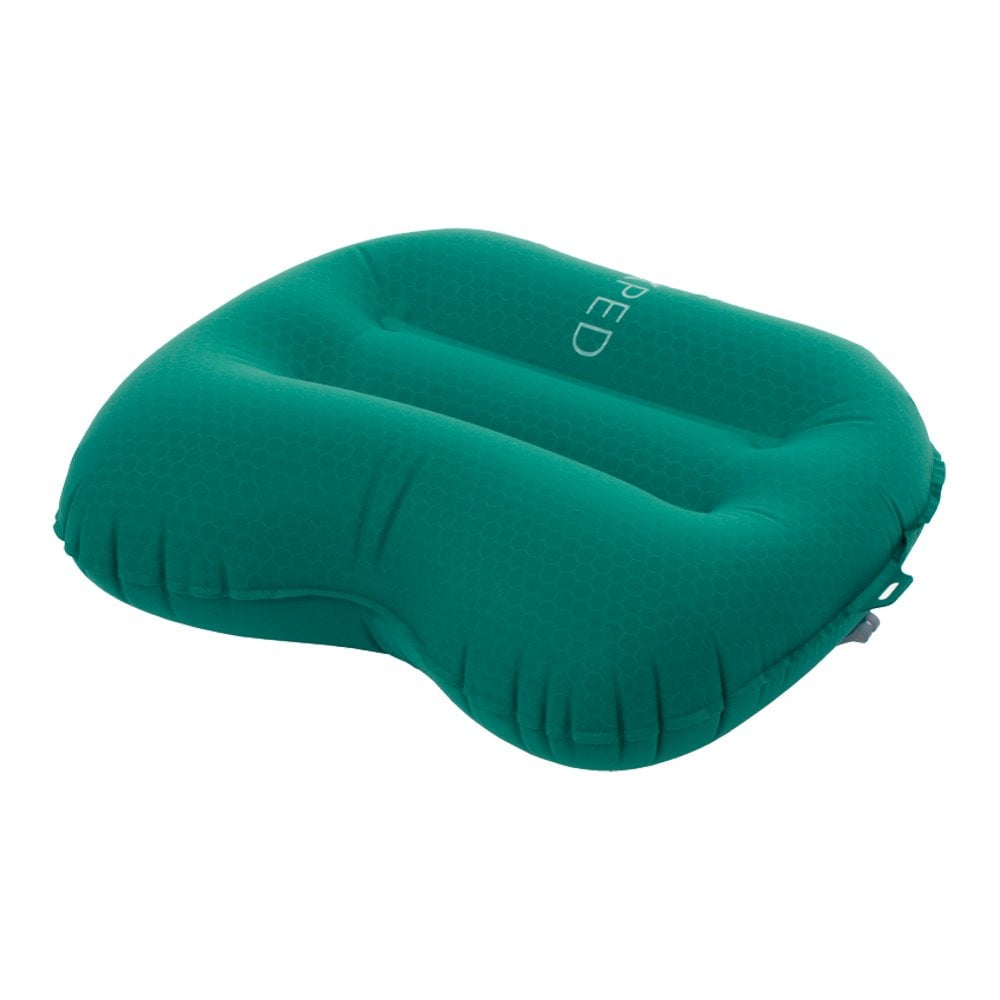 Exped AirPillow UL M camping pillow in green colour shown inflated