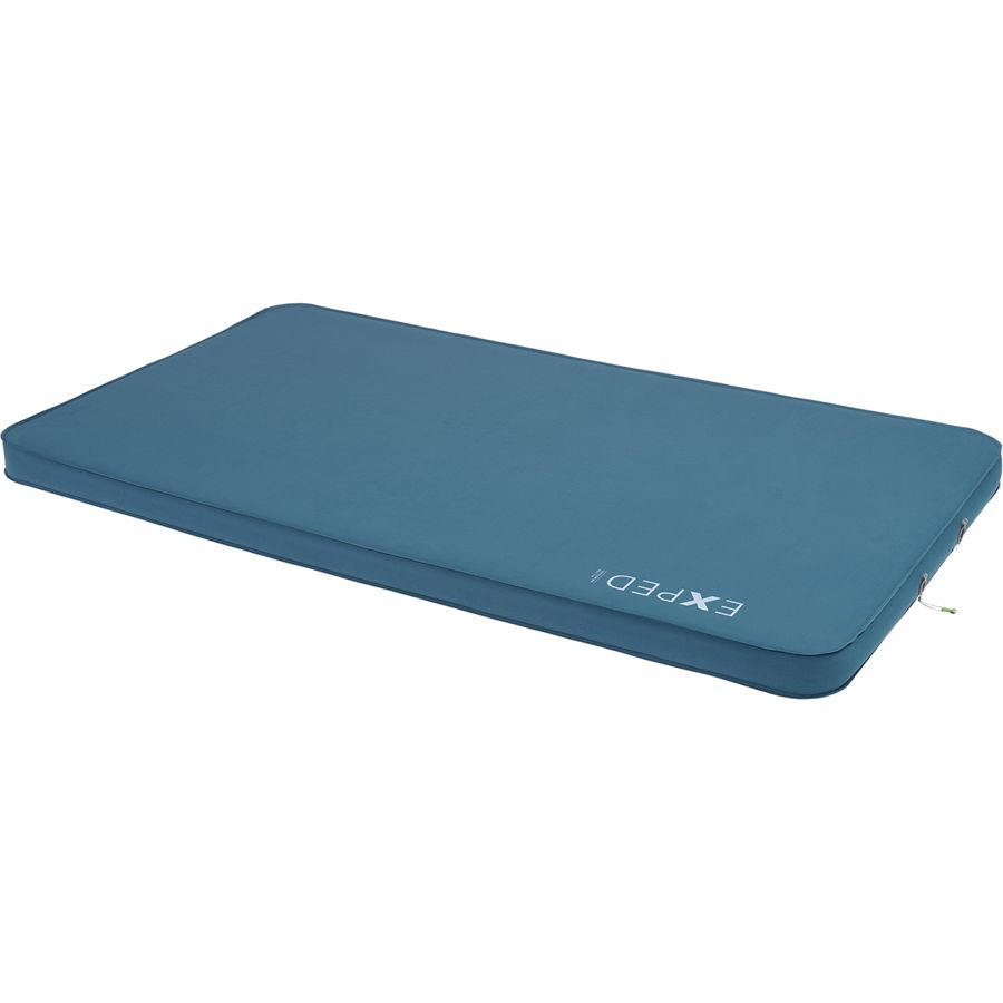 Exped DeepSleep Mat Duo 7.5 sleeping mat in blue colour shown inflated