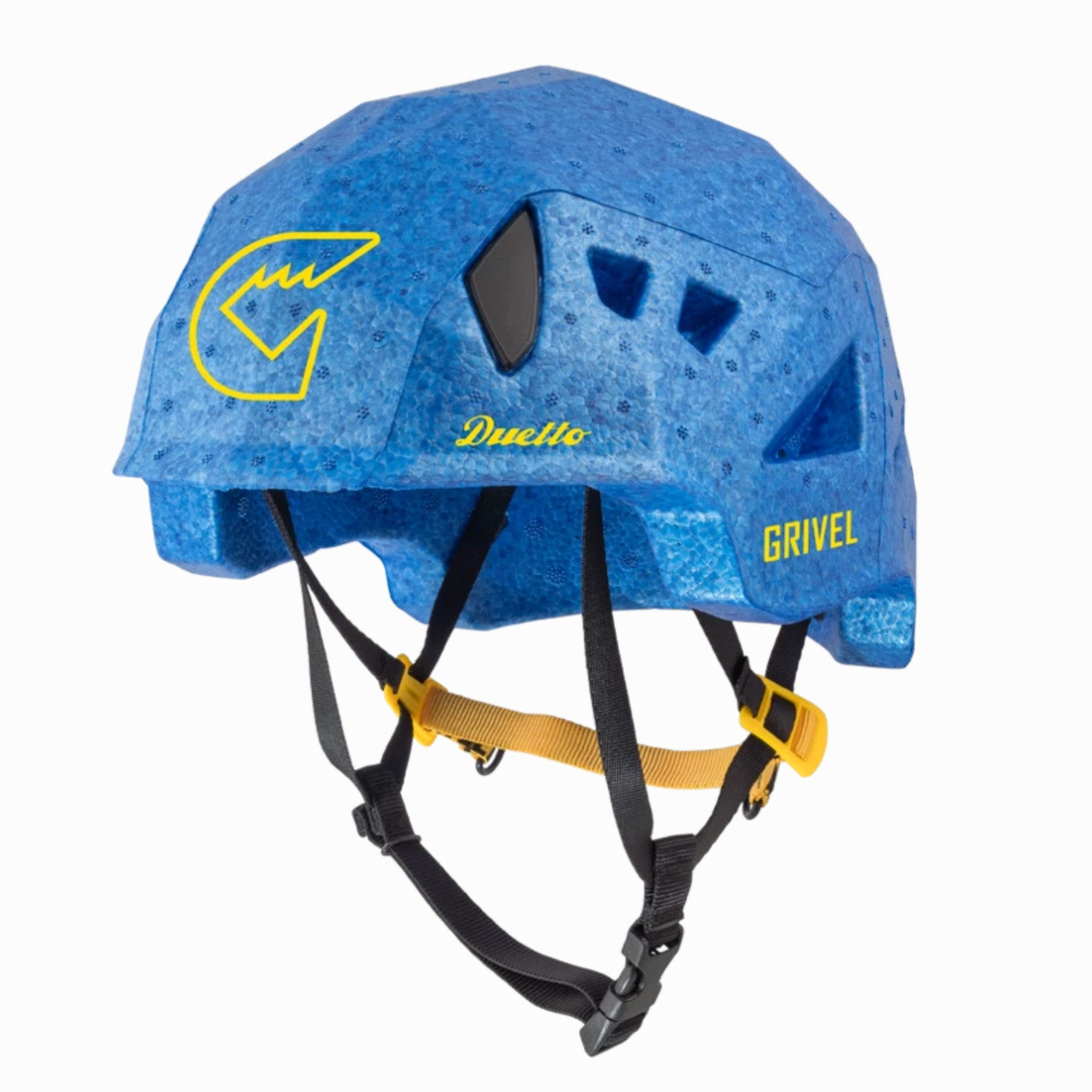 Grivel Duetto climbing and skiing helmet, front/side view in Blue colour