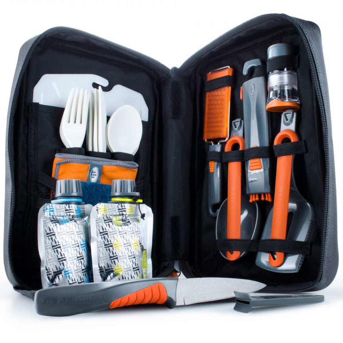 GSI Destination Kitchen 24, showing storage pack open with camping cutlery inside
