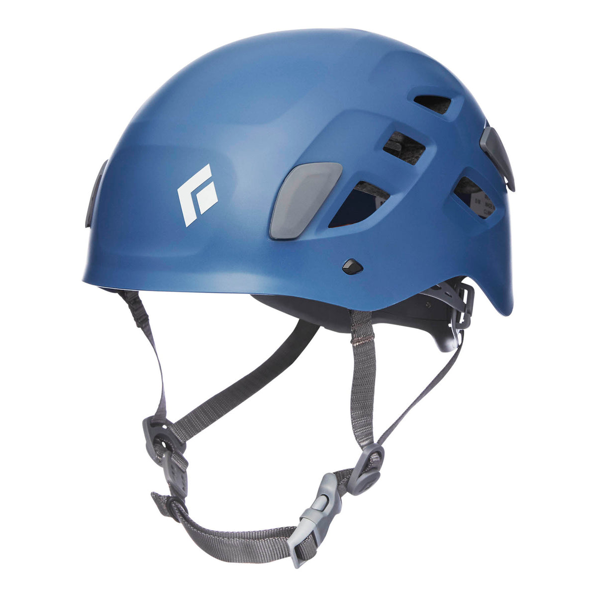 Black Diamond Half Dome climbing helmet, front/side view in blue colour with grey chin strap