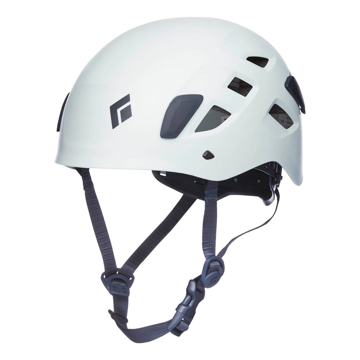 Black Diamond Half Dome climbing helmet, front/side view in white colour with grey chin strap