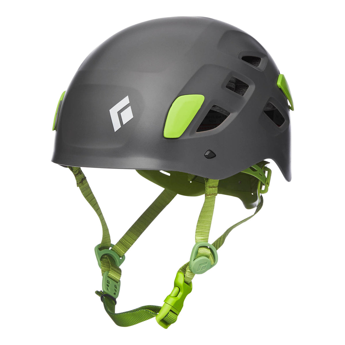 Black Diamond Half Dome climbing helmet, front/side view in grey colour with green chin strap
