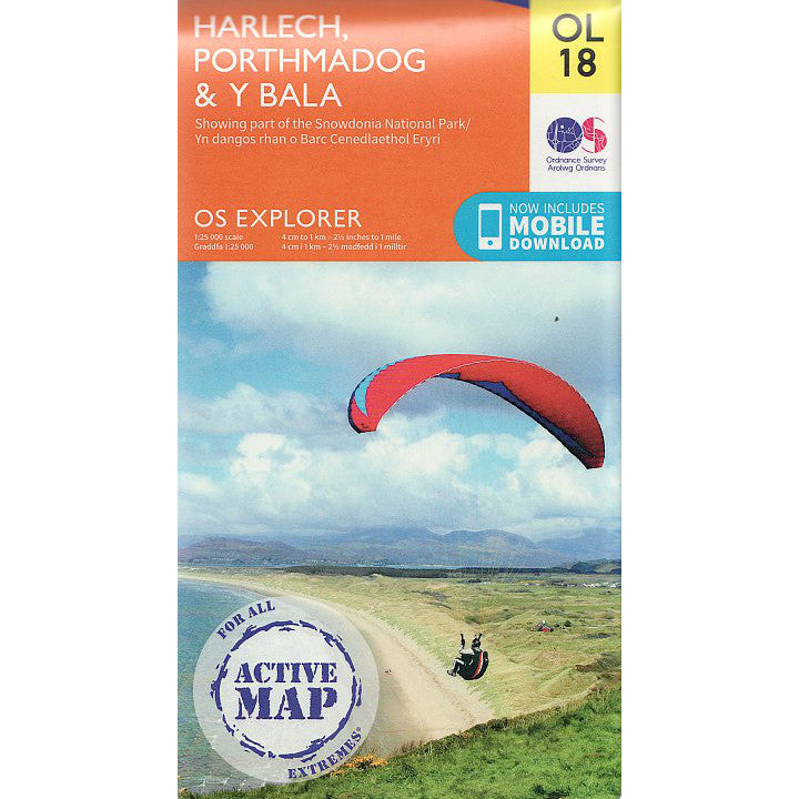 Front cover Harlech Porthmadog and Bala - OS Explorer Map 18 Active