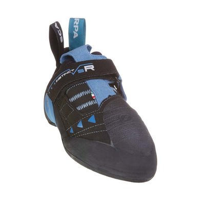 Scarpa Instinct VS-R climbing shoe, side view in black and blue colours