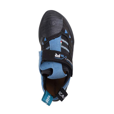 Scarpa Instinct VS-R climbing shoe from above, in black and blue colours