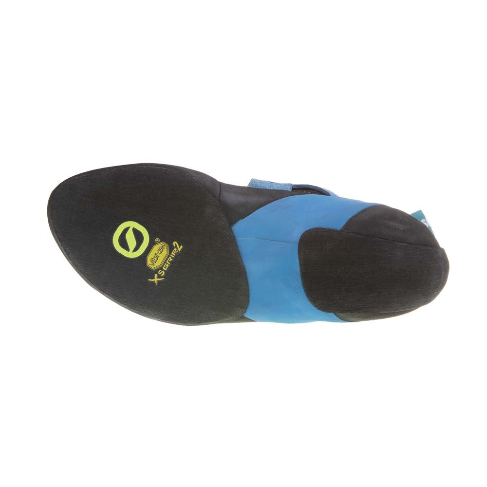 Scarpa Instinct VS-R climbing shoe sole, in black and blue colours