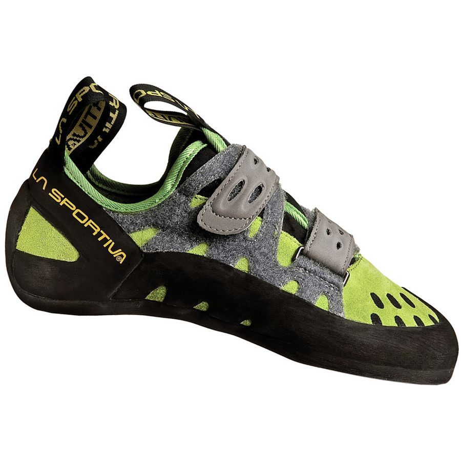 La Sportiva Tarantula climbing shoe, in black, green and grey colours