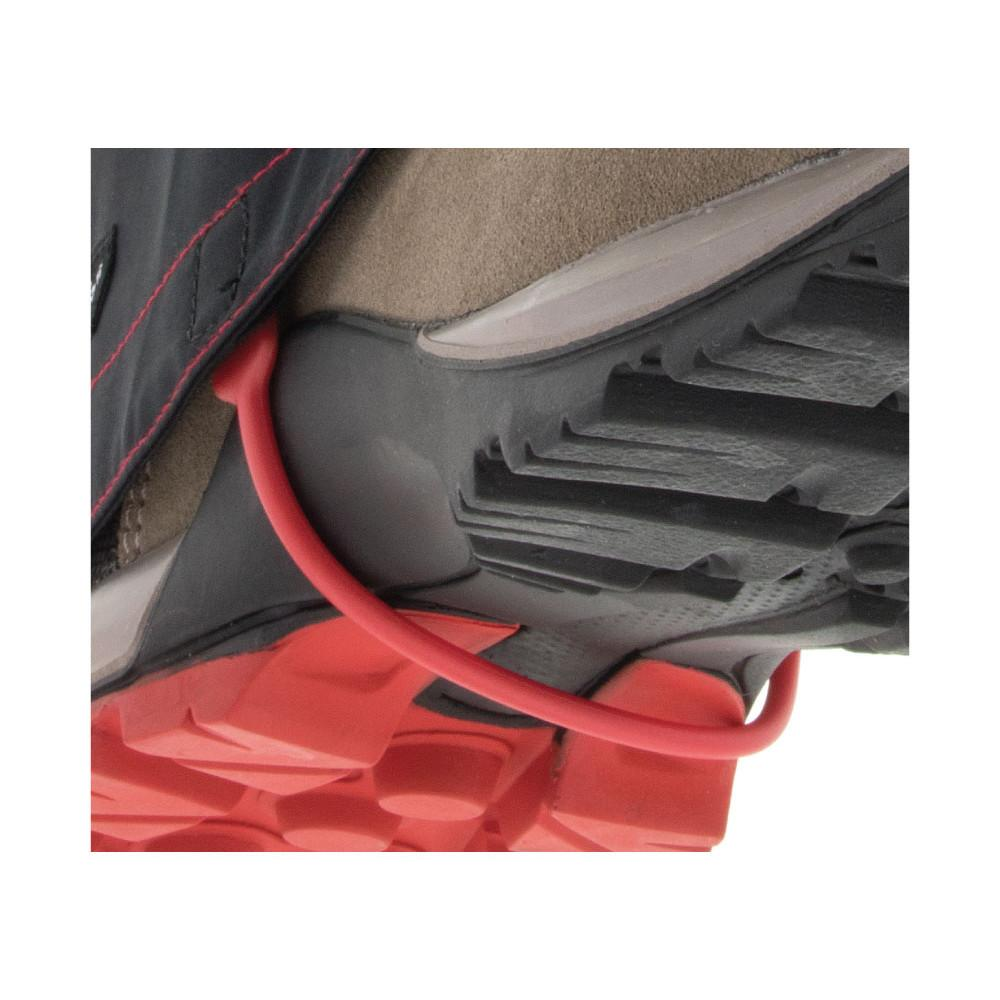 Kahtoola Leva Gaiter GTX, Red Rubber band holding gaiter in place on shoe