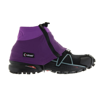 Kahtoola Insta Gaiter GTX, outer side view shown over running shoe, in purple colour