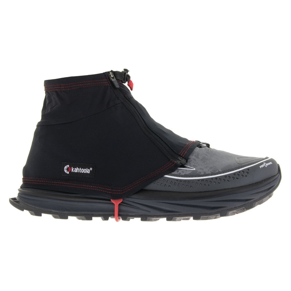Kahtoola Insta Gaiter GTX, outer side view shown over running shoe, in black colour