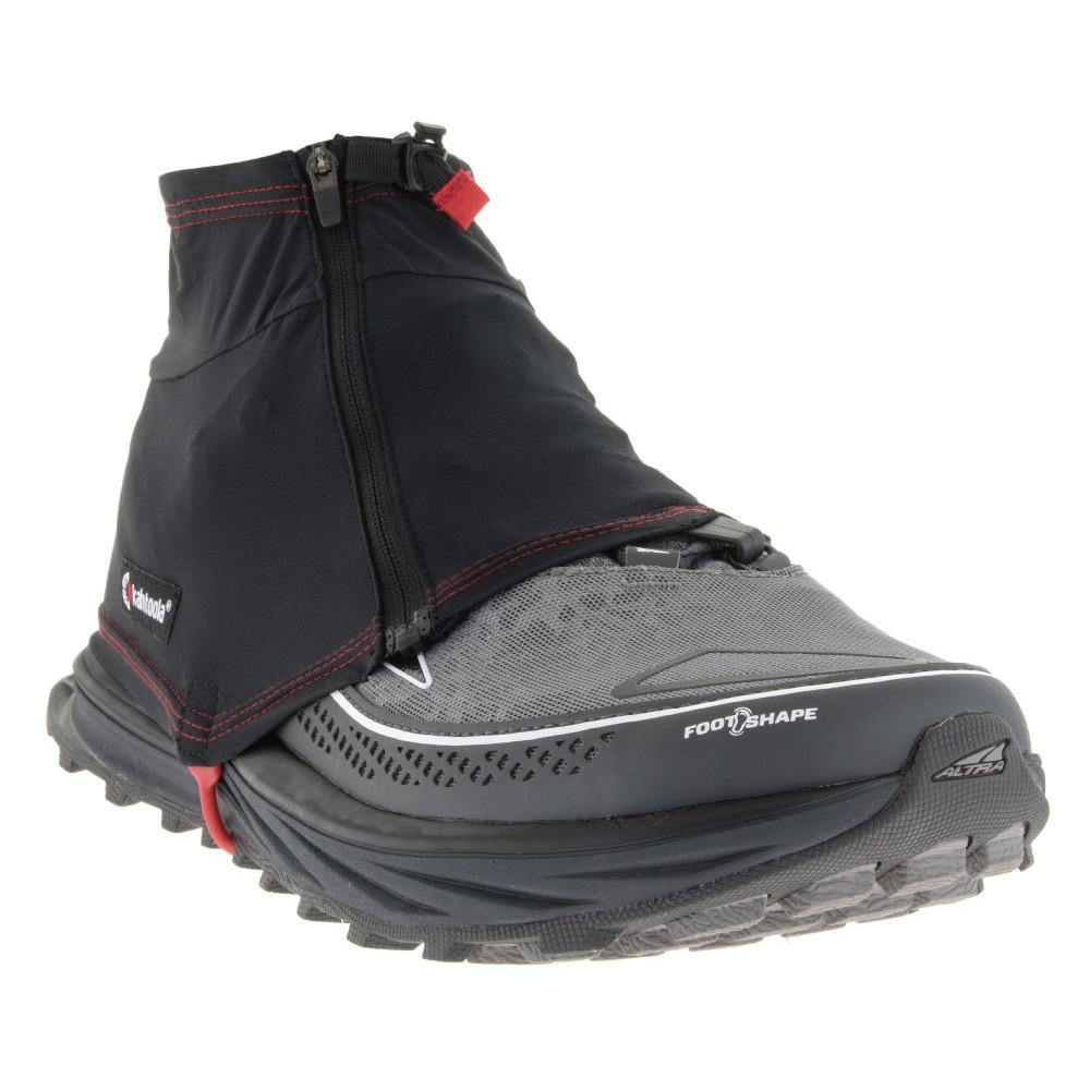 Kahtoola Insta Gaiter GTX, front/outer side view shown over running shoe, in black colour